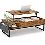 Aheaplus Lift Top Coffee Table with Storage, 43.3' Wood Lifting Top Central Table Metal Frame, Lift Tabletop Tea Table with Side Pouch, Cocktail Table Modern Pop up Adjustable Table for Living Room