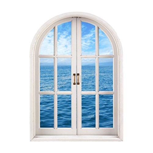 Igemy 1 PCS 3D Fenster Meer Aussicht Mauer Aufkleber Herausnehmbar Kunst Abziehbild Wandgemälde Tapete (Multicolor)
