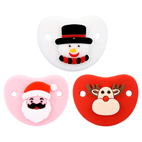 NUOBESTY 3 pcs Christmas Infant Pacifier Silicone Baby Pacifier with Snowman Santa Claus Reindeer Pattern Newborn Infant Pacifier Christmas Party Favors Colorful