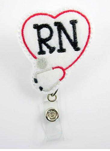 RN Heart Stethoscope Red - Nurse Badge Reel - Retractable ID Badge Holder - Nurse Badge - Badge Clip - Badge Reels - Pediatric - RN - Name Badge Holder