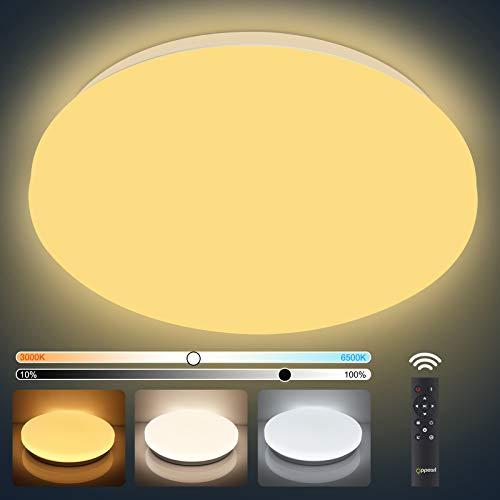LED Deckenlampe Farbwechsel 3000K-6500K, OPPEARL 40W 3700LM LED Deckenleuchte Dimmbar Rund Leuchte mit Fernbedinung für Bad Schlafzimmer Büro Esszimmer Küche Balkon