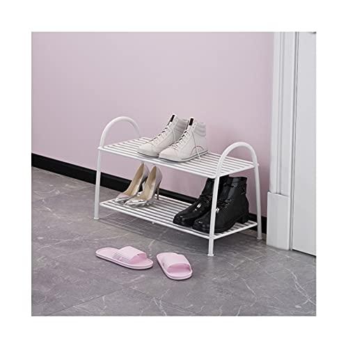 Zapatero de hierro de 2/3 niveles, organizador de almacenamiento de zapatos de lujo nórdico, soporte para zapatos, para entrada, pasillo y armario (color: blanco, tamaño: 2 niveles)