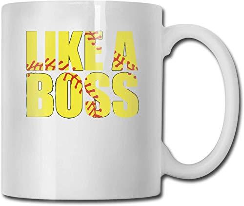 Taza de café blanca de cerámica única Like A Boss, taza de té para la oficina, hogar, diversión, novedad, regalo, taza de bebida divertida de 11 oz para hombres y mujeres