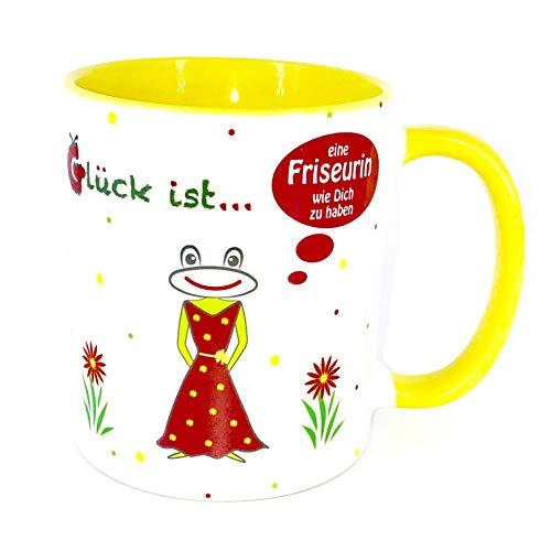 Friseurin Geschenk, Danke Tasse, gelb mit Frosch