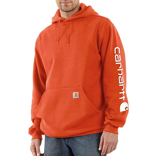 Carhartt Men's Midweight Sleeve Logo Hooded Sweatshirt, Harvest Orange, X-Large