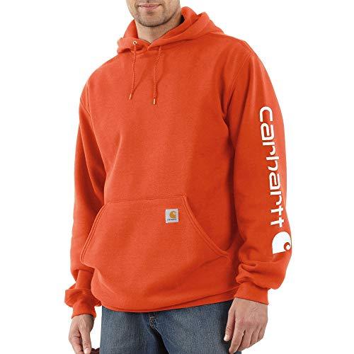 Carhartt Men's Midweight Sleeve Logo Hooded Sweatshirt, Harvest Orange, Large