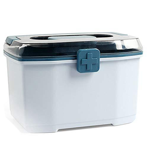 cherrypop Caja de medicina de almacenamiento portátil de plástico engrosado de doble capa para el hogar Kit de primeros auxilios Caja de medicina portátil - Azul
