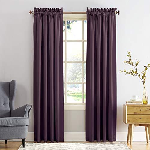 "Sun Zero Barrow Energy Efficient Rod Pocket Curtain Panel, 54"" x 84"", Plum, One Panel"