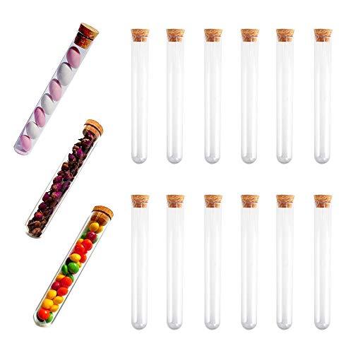KINDPMA 15 Stück Reagenzgläser 150 × 20mm Kunststoff Reagenzglas mit Korken Reagenzgläschen 30ml Reagenzröhrchen Reagenzgläser für Blumen M&M Süßigkeiten Smarties Badesalz Gewürze