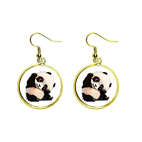 China Panda Cubs Trottie Encantador Bebé Ear Cuelga Oro Pendiente De Gota Joyería Mujer