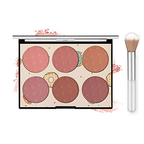 Ownest 6 Colors Face Blush Palette,Light Luxury Blush Palette Matte Blush Powder Bright Shimmer Face Blush,Contour and Highlight Blush Palette(with A Blush Brush)-Set A