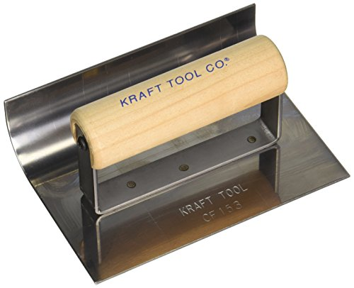 Kraft Tool CF153 1-Inch Radius Inside Curb and Sidewalk Tool with Wood Handle, 6 x 4-Inch