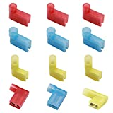 smseace 30PCS Flag Spade Female Terminal Connectors Red/Blue/Yellow Female Fully Insulated Right Angle Spade Connector Durable Terminal connectors 22-18/16-14/12-10AWG Spade Crimp Terminal QX-R-B-Y