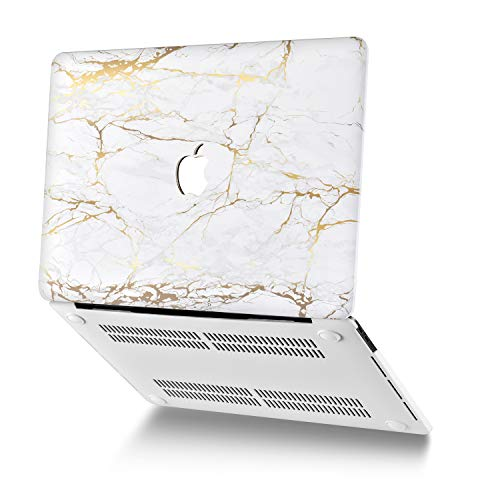 ASICEN Cover Compatible with MacBook Air 13 Inch A2179 A1932 (2020/2018 Release) with Touch ID & Retina Display, Plastic Hard Shell Case Cover & Keyboard Cover & USB-C to USB Adapte (White Marble)