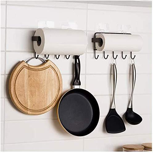 HomeMagic Colgador de Toallas Multifuncional Bastidores Colgantes para Accesorios de Cocina y Baño, Acero Inoxidable Organizador de Utensilios en Cocina con 5 Ganchos (Negro)