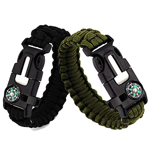 of bracelet with survival whistles Feellove 2pcs Survival Bracelets Compass Flint Bracelet Outdoor Escape Survival Hand Rope Survival Whistle Life-Saving Flint Bracelet