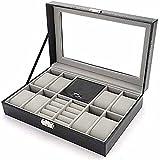 PPuujia Pequeña caja de joyería Caja de reloj de los hombres PU cuero Display almacenamiento titular relojes gemelos ranuras anillos organizador bandeja con cristal Top-negro