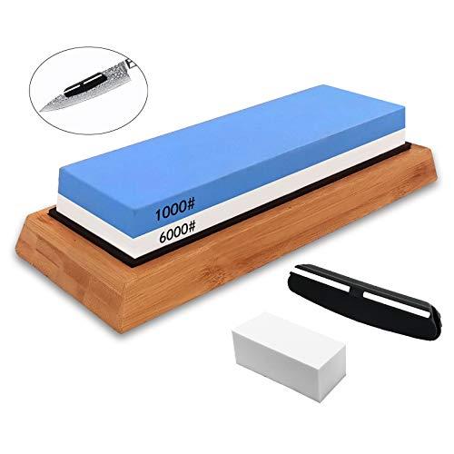 Sharpening Stone set Whetstone Knife Sharpener Dual Side Grit 1000/6000 Best knife sharpening stone kit for Kitchen | NonSlip Bamboo Base & Angle Guide & Correction stone