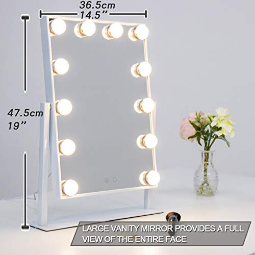 Waneway Lighted Vanity Mirror with 12 x 3W Dimmable LED Bulbs and Touch Control Design, Hollywood Style Makeup Cosmetic Mirrors with Lights, White