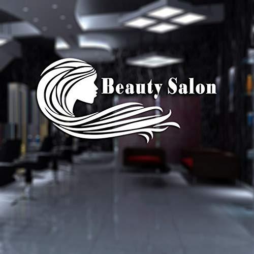 ASFGA Beauty Salon Aufkleber Friseur Salon Wandaufkleber Friseur Schere Vinyl Fenster Aufkleber Dekoration Wandbild Friseur Glas Aufkleber 28x58cm