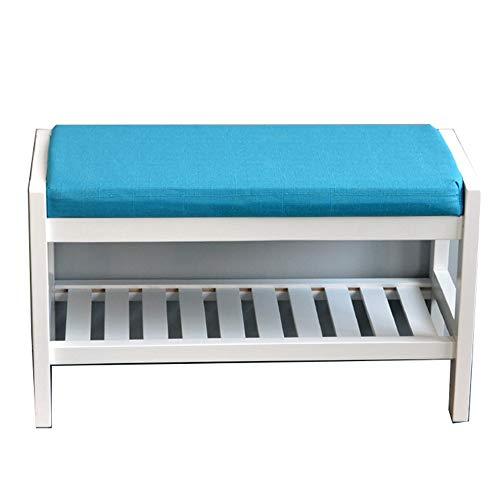 JIADUOBAO Bancos de almacenamiento de madera de pino para el hogar con cojín de asiento, sala de estar, pasillo y guardarropa multifunción de pie, color: azul