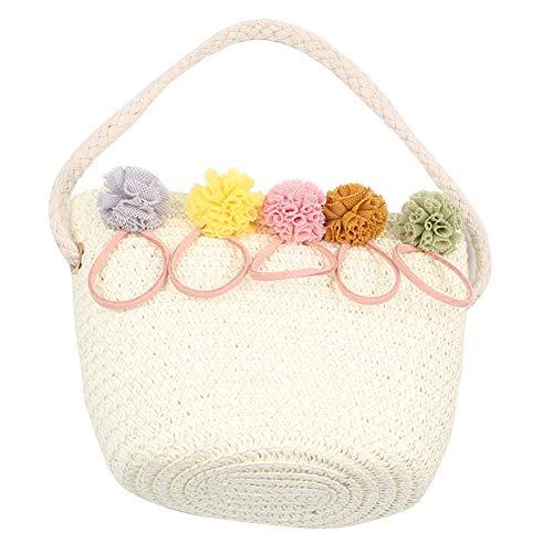TININNA Mädchen Blume Stroh Tasche Umhängetasche Prinzessin Mini Strandtasche Handtasche Kinder Rattan Crossbody Taschen Geldbörse