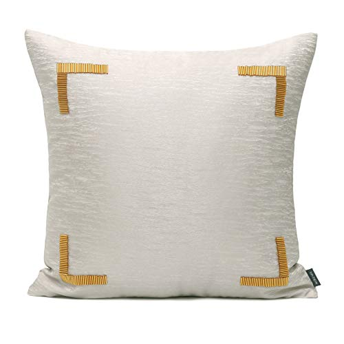 Cushion Covers Golden Handmade Beaded Bedroom Sofa Decoration Square Pillowcase Light Grey 45X45Cm With Core