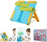 Book Stand Holder for Kids on Desk - Portable, Lightweight Easel Stand with Adjustable Angles, Clips and Clamps to Hold or Display Books, Tablet, Mobile Phone, Music Sheets, Art & Drawing Block