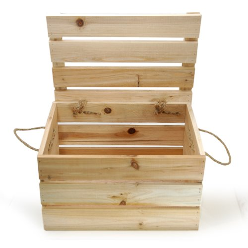 """The Lucky Clover Trading Wood Storage Box with Swing Lid, 11"""" L Crate, Natural"""