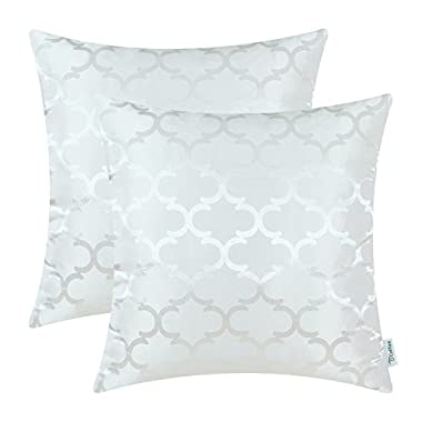Pack of 2 CaliTime Cushion Covers Throw Pillow Cases Shells for Home Sofa Couch, Modern Quatrefoil Accent Geometric, 18 X 18 Inches, White