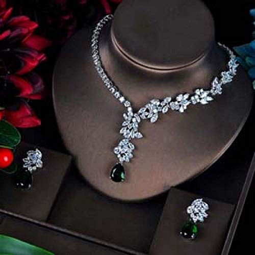 Zyuan Fashion Green CZ Jewelry Sets For Women Flower Design Necklace Earrings Bijoux Set Party Wedding Gift ShanDD (Color : Platinum Plated)