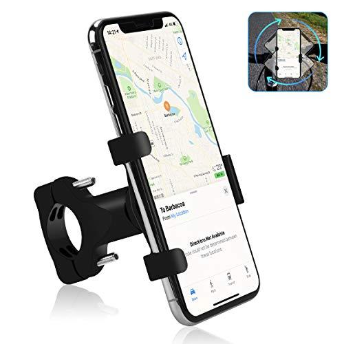 Osaloe Supporto Cellulare Bici, Porta per Telefono Regolabile in Lega di Alluminio Ruotabile a 360 ° Anti-vibrazione Compatibile con iPhone X XR 11 Pro SE 2 Samsung s8 S9 S10 S20 per Manubrio Bici