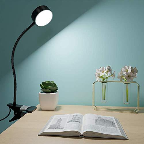 Litogo Lampara Pinza LED, Super Brillante Lampara Escritorio Pinza, con Puerto de Carga USB Luz Lectura con Protección Ocular y Ahorro de Energía Lampara Lectura, 360° Cuello Flexible Luz para Leer