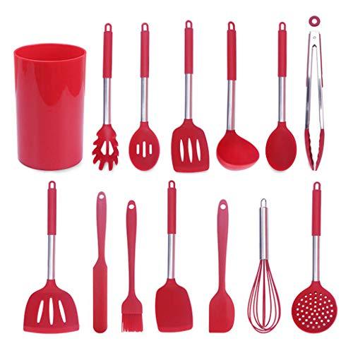N/A. Juego de 14 utensilios de cocina de silicona antiadherente, espátula, cuchara batidora de huevos, clip de alimentos, espaguetis, utensilios de cocina, resistentes al calor