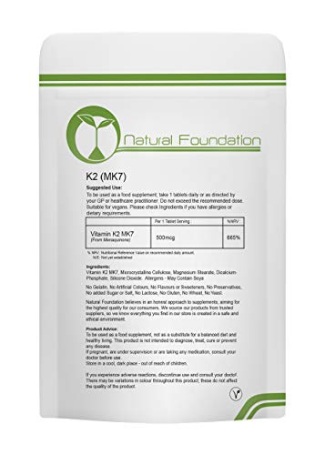 Vitamin K2 (MK-7) 500mcg K2 MK7 Tablets Natural Heart Bone Health & Calcium Efficiency | Natural Foundation Supplements (120)