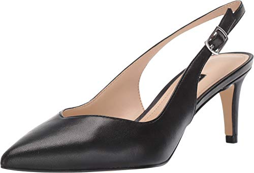 NINE WEST Sonia Black Leather Slingback Pumps-Black-8.5-M
