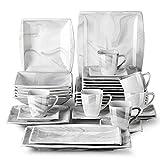 MALACASA, Serie Blance, 32 tlg. Marmor Porzellan Tafelservice Kombiservice Geschirrset mit je 6 Kaffeetassen, 6 Untertassen, 6 Dessertteller, 6 Suppenteller, 6 Flachteller und 2 Servierplatten