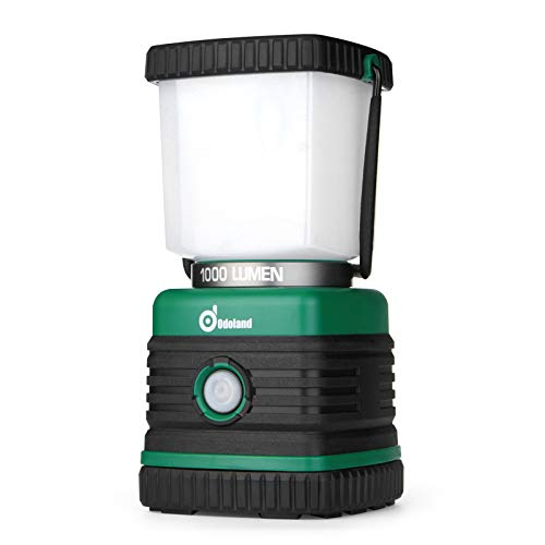 Odoland 1000 Lumen Camping Lantern, Battery Powered LED Lantern of 4 Light Modes, Waterproof Tent Flashlight, Perfect for Hurricane, Storm, Outages, Camping, Hiking, Emergency, Survival Kits