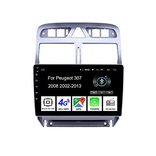 Radio de coche Android doble DIN estéreo de 9 pulgadas con pantalla táctil para Peugeot 307 2002-2013 Accesorios de coche Multimedia Control del volante con navegación Plug and Play, 8 núcleos 2G+32G
