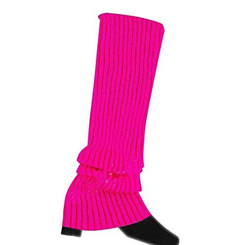 VJGOAL Moda casual para mujer Punto trenzado Mantener caliente Calentadores de la pierna Calcetines Cubierta de la bota Calcetines de la pierna(Un tamaño,Rosa caliente)