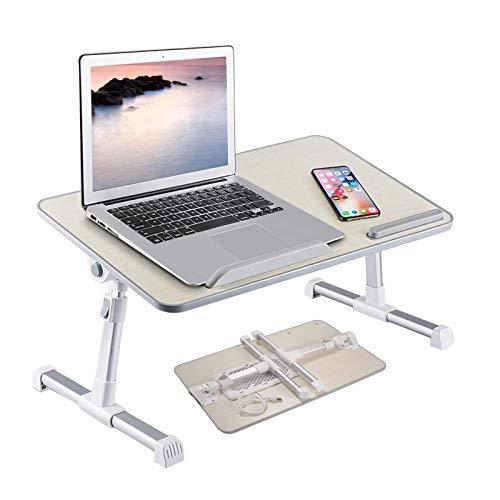 YJHome Mesa para Ordenador Portátil - con Ventilador de Refrigeración - con Reposamanos Suave - Plegable Mesa de Cama Ajustable en Altura, para Cama o Sofá (52 x 30 cm)