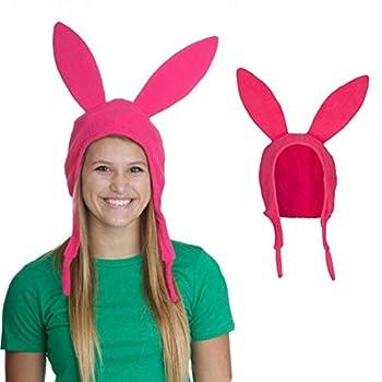 Pink Bunny Rabbit Ears Hat Cosplay Costume Halloween Fleece Hat