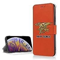US Navy Seal IPhoneXR フリップ ケース 手帳型 磁気閉鎖 薄型 超軽量 多機能 ICカード収納 耐衝撃 滑り防止 折りたたみ スタンド高級PUレザー 保護カバー