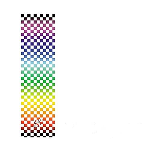 HYSJLS 33 * 9inch Monopatín Papel de Lija Doble Rocker Sandfaper Skate Tablero Pegatina Etiqueta de Lija Patinaje eléctrico Griptape Griptape Griptape Autoadhesivas (Color : Rainbow Grid)
