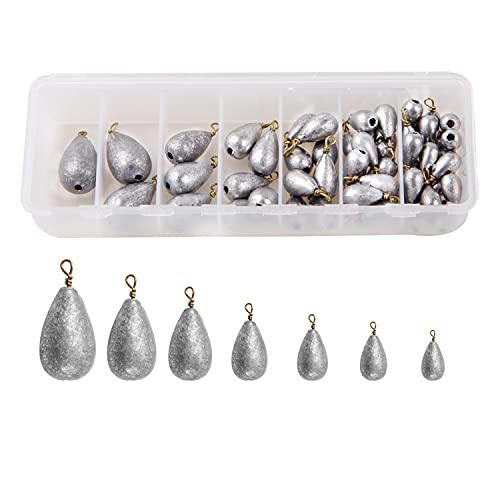 Shaddock Fishing 54pcs/Box Assorted Bell/Bass Casting Sinkers Weights Kit Saltwater Fishing Weights-Total 13OZ in A Handy Box