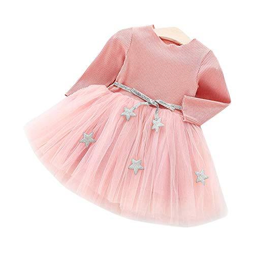 Baby Langarm Strick Tutu Kleid Infant Princess Tüll Kleid mit Stern Bund Baumwollmischung Rock für Kinder(90-Rosa)