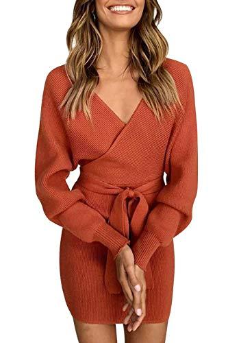 ZIYYOOHY Damen Elegant Pulloverkleid Strickkleid Tunika Kleid V-Ausschnitt Langarm Minikleid Mit Gürtel (M(38), Ziegelrot)