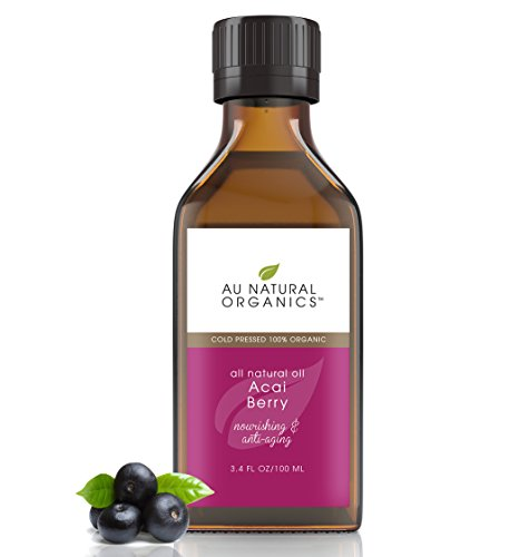 Acai Berry Dry Skin & Hair Growth Oil by Au Natural Organics|Organic, Cold Pressed Beauty Face & Body Moisturizer|Anti-Wrinkle, Herbal Facial Oil with Powerful Antioxidants for Mature Complexion|100ml