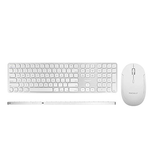 Macally Bluetooth Wireless Mac Keyboard and a Quiet Bluetooth Mouse, Perfect Pair to Go with Your Mac