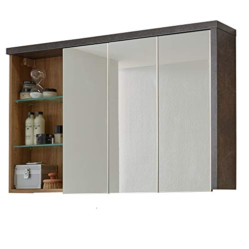 trendteam Badezimmer Spiegelschrank Spiegel Bay, 123 x 71 x 18 cm in Korpus Beton Stone Dekor, Front Eiche Riviera Honig mit drei offenen Fächer